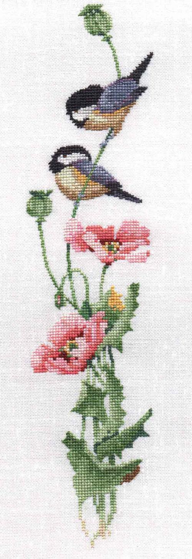 Вышивка крестом птицы на цветах 590